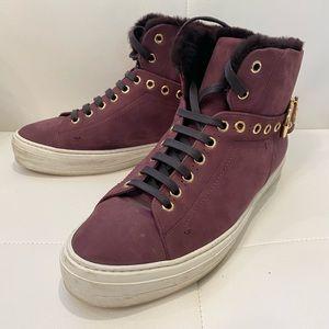 SALVATORE FERRAGAMO Suede Shearling Sneakers Sz 10